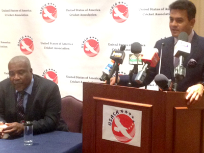 Jay Pandya touts his investment plan for United States cricket in the presence of Gladstone Dainty, USACA President.