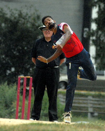 Nair is seen here bowling against the visiting Marylebone Cricket Club of England.
