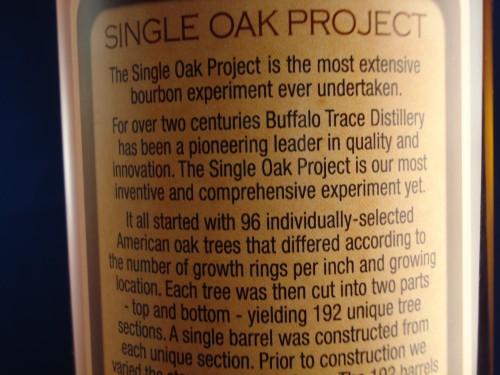 Buffalo Trace Single Oak 175 rear label 2