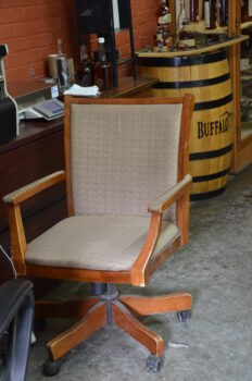 Elmer's Chair still sits in the Blanton's bottling house at Buffalo Trace