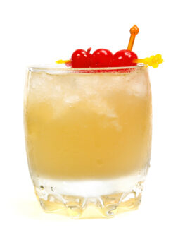 Old fashioned is made of: 2 oz bourbon 1 sugar cube 1 dash bitters 1 dash soda water