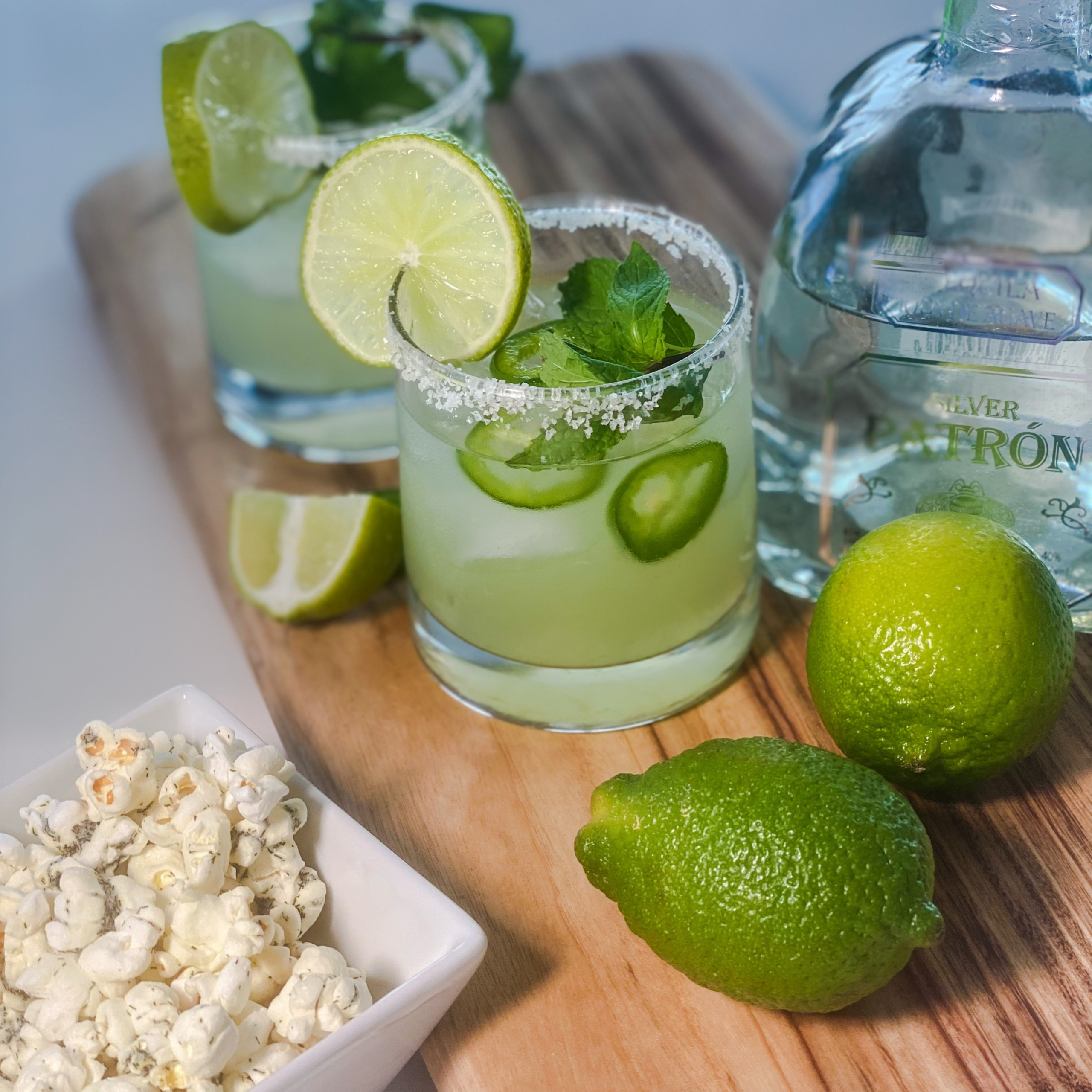 Spicy Margarita Cocktail Pairs Well With Dill Pickle Popcorn