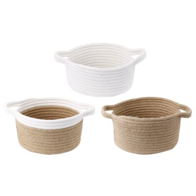 AB Home Set of 3 Jute Baskets with Cotton Trim in Tan Finish 40306