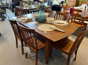 Amesbury Chair Solid Hardwood Butterfly Leaf Dining Table and 6 Slatback Side Chair