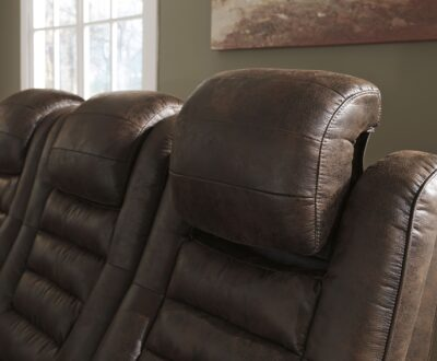 Game Zone Bark Power Reclining Sofa with Adjustable Headrest, By Ashley Furniture