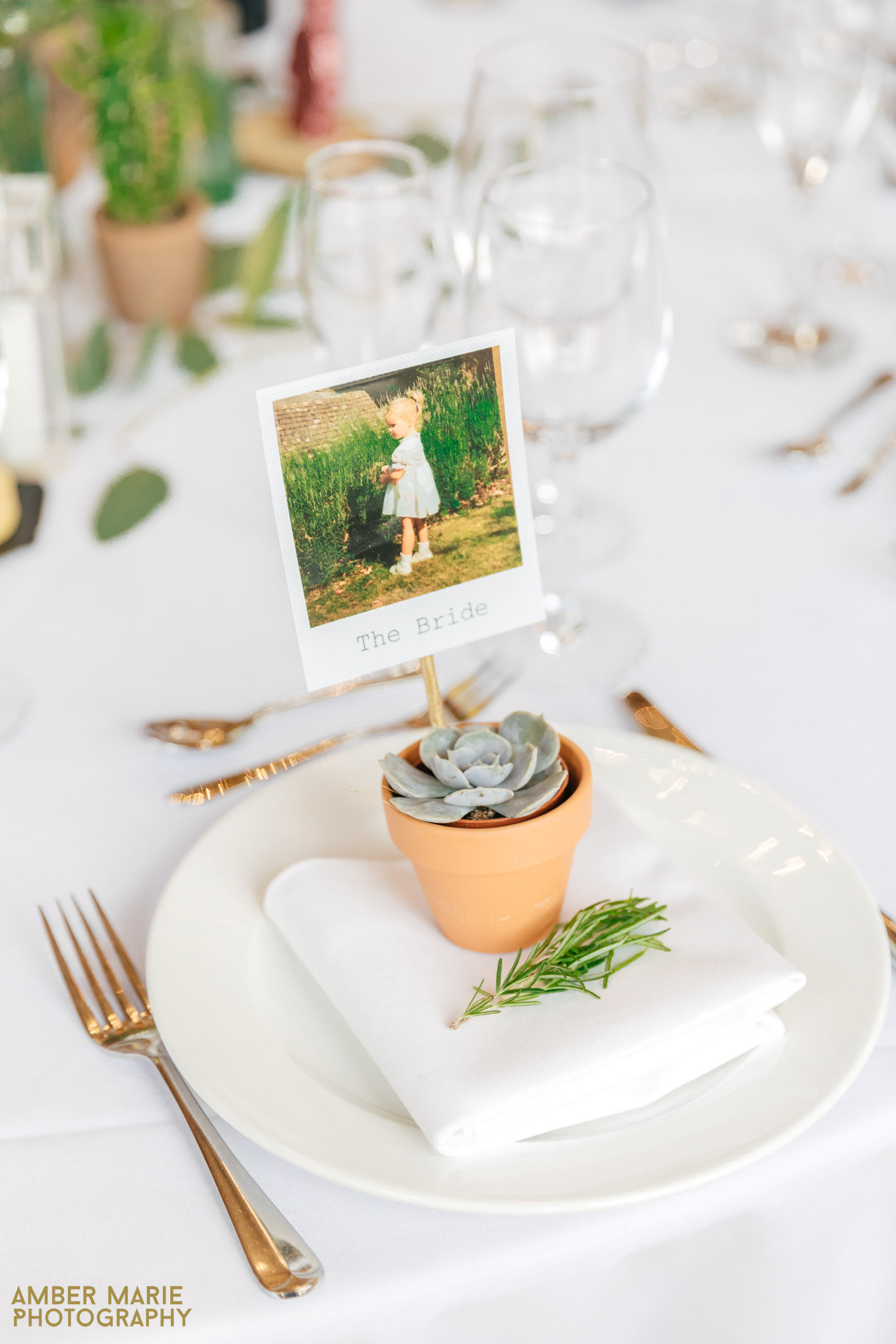 succulent table settings at kingscsote barn wedding