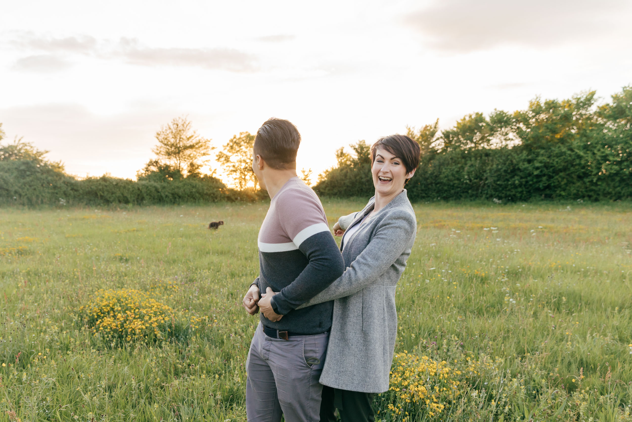 sunset engagement photographer cotswolds