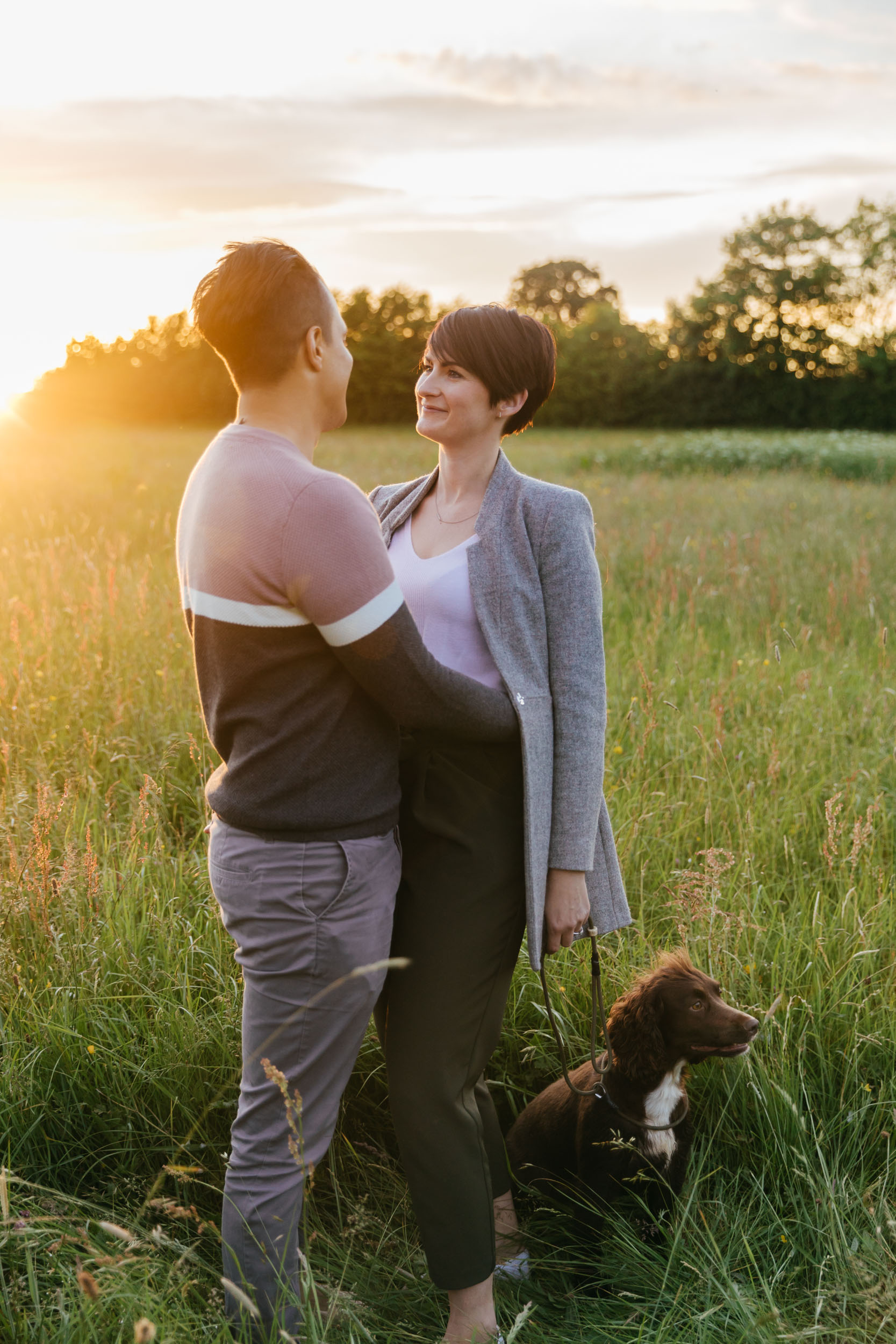 sunset engagement photoshoot gloucestershire