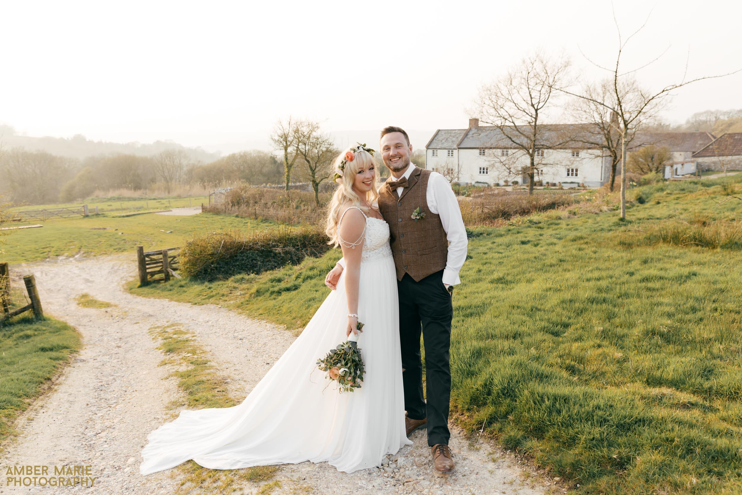 Sparklers at Spring wedding at River Cottage