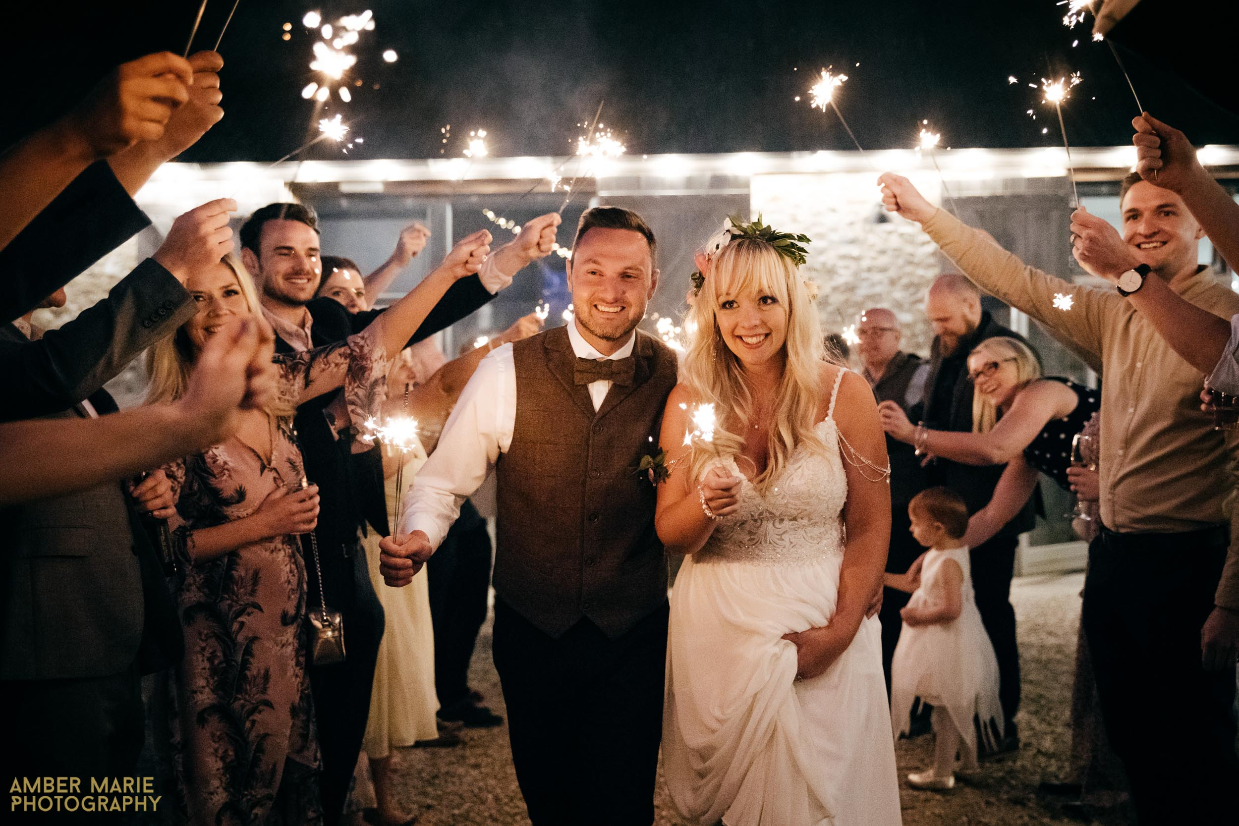 Wedding sparklers by creative wedding photographer