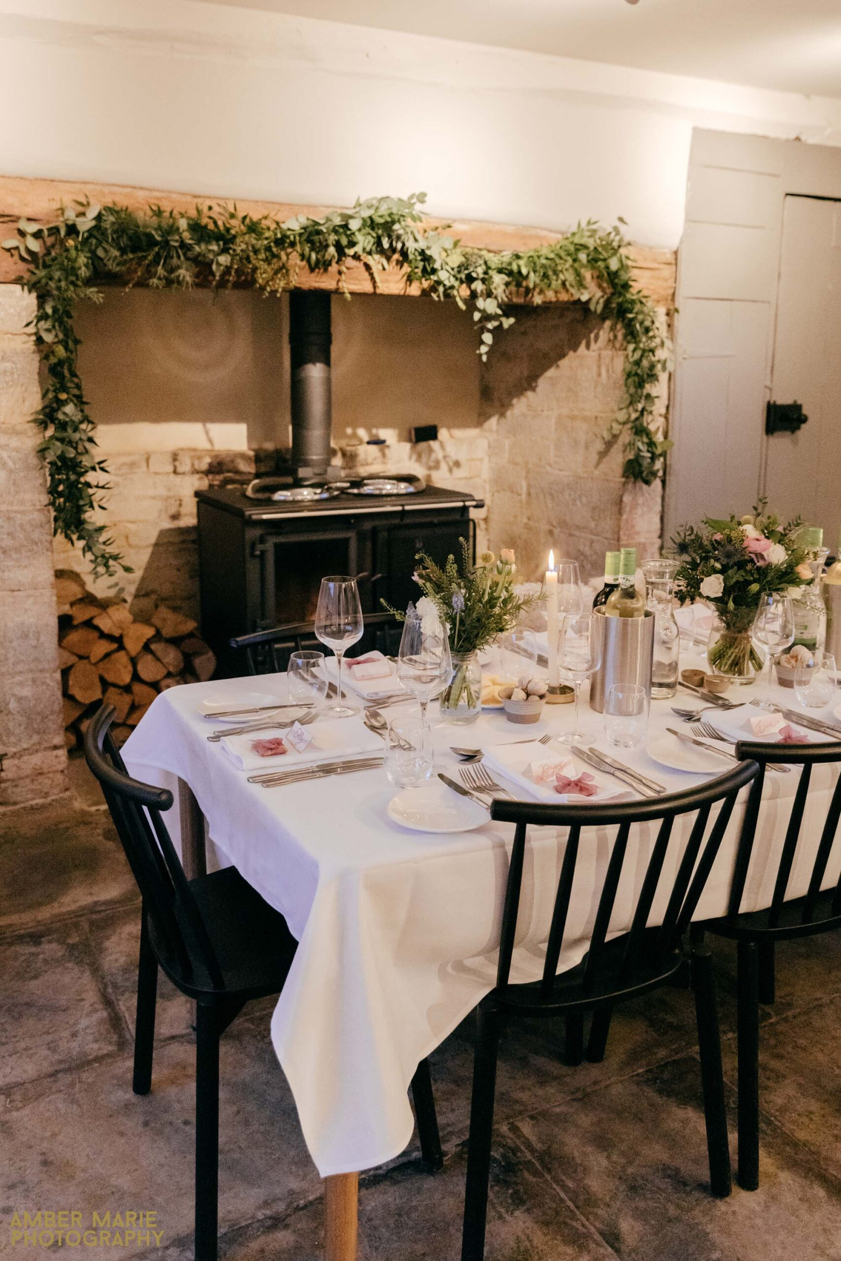 winter wedding at river cottage by cotswolds wedding photographer