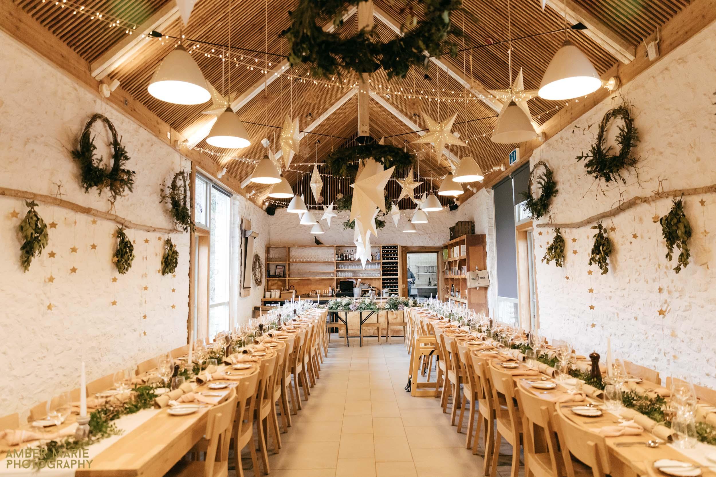 stylish winter wedding at river cottage