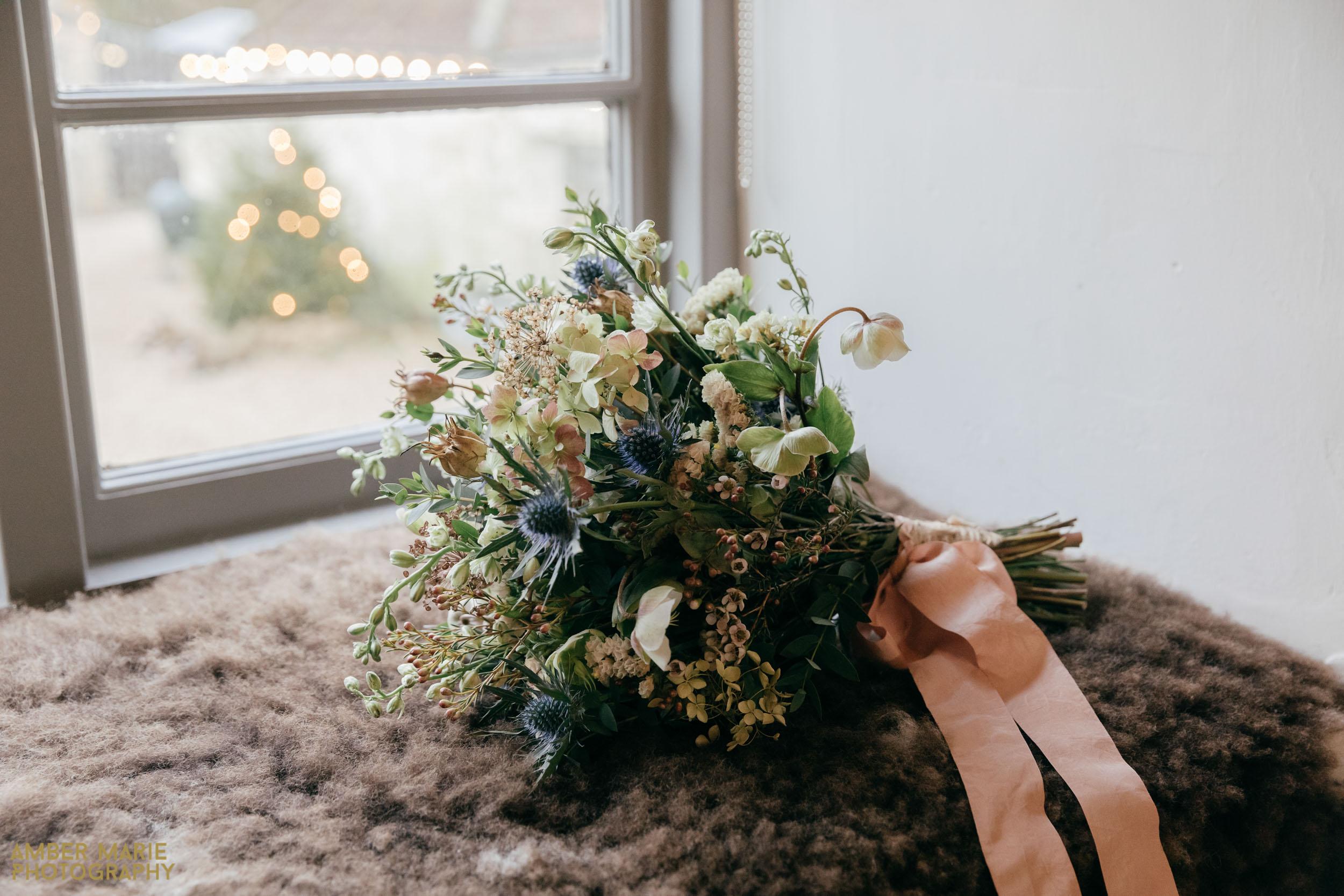 winter wedding bouquet at river cottage