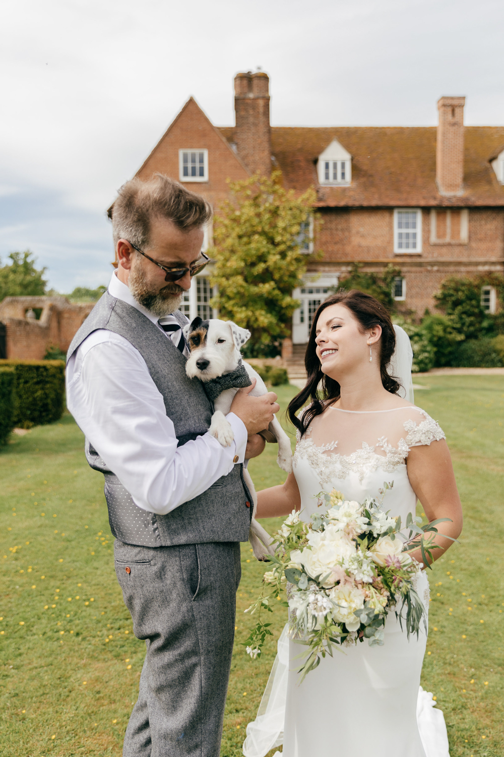 natural wedding day portraits with pet dog