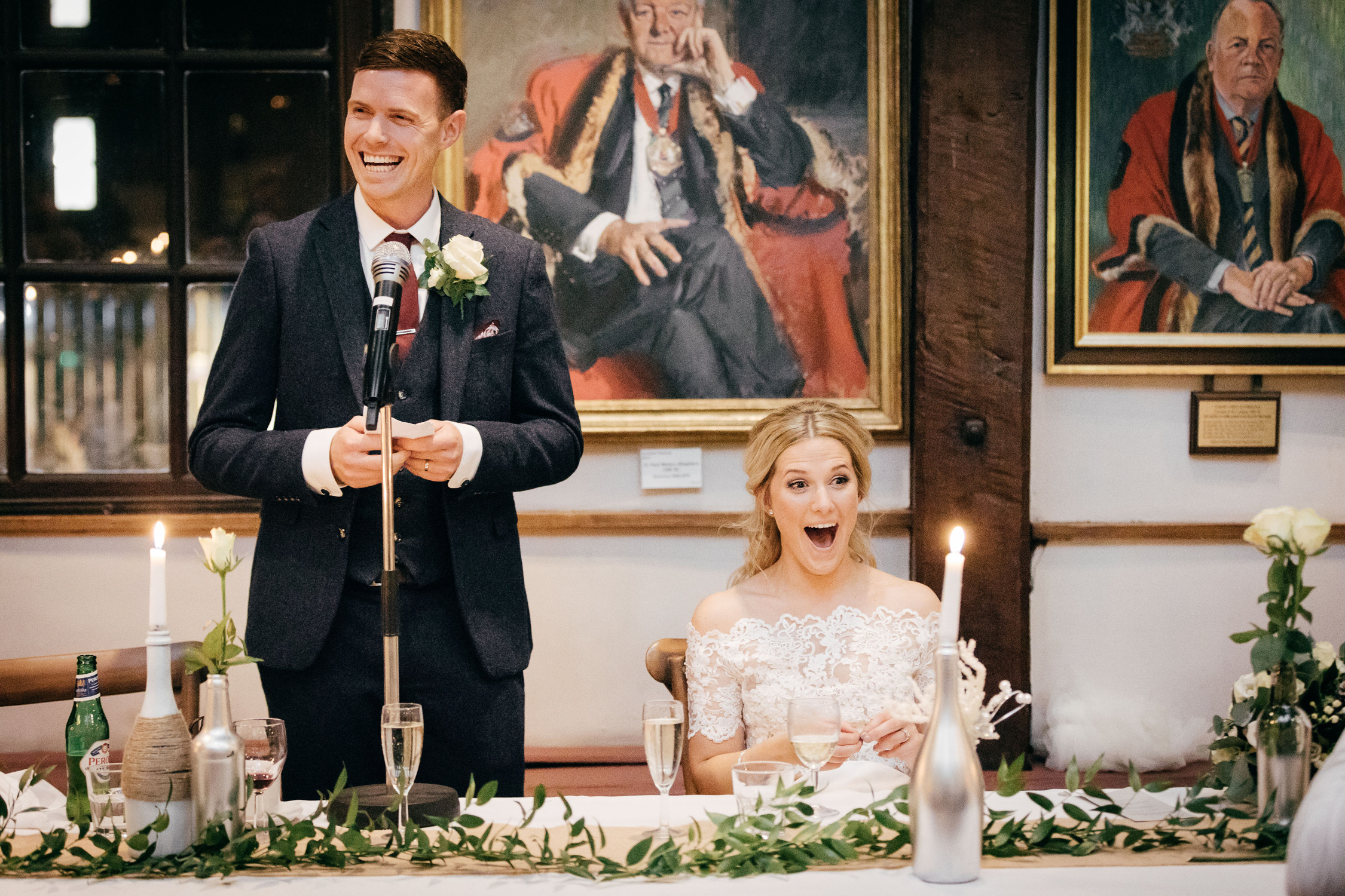 best candid wedding photography of speeches at candle lit winter wedding