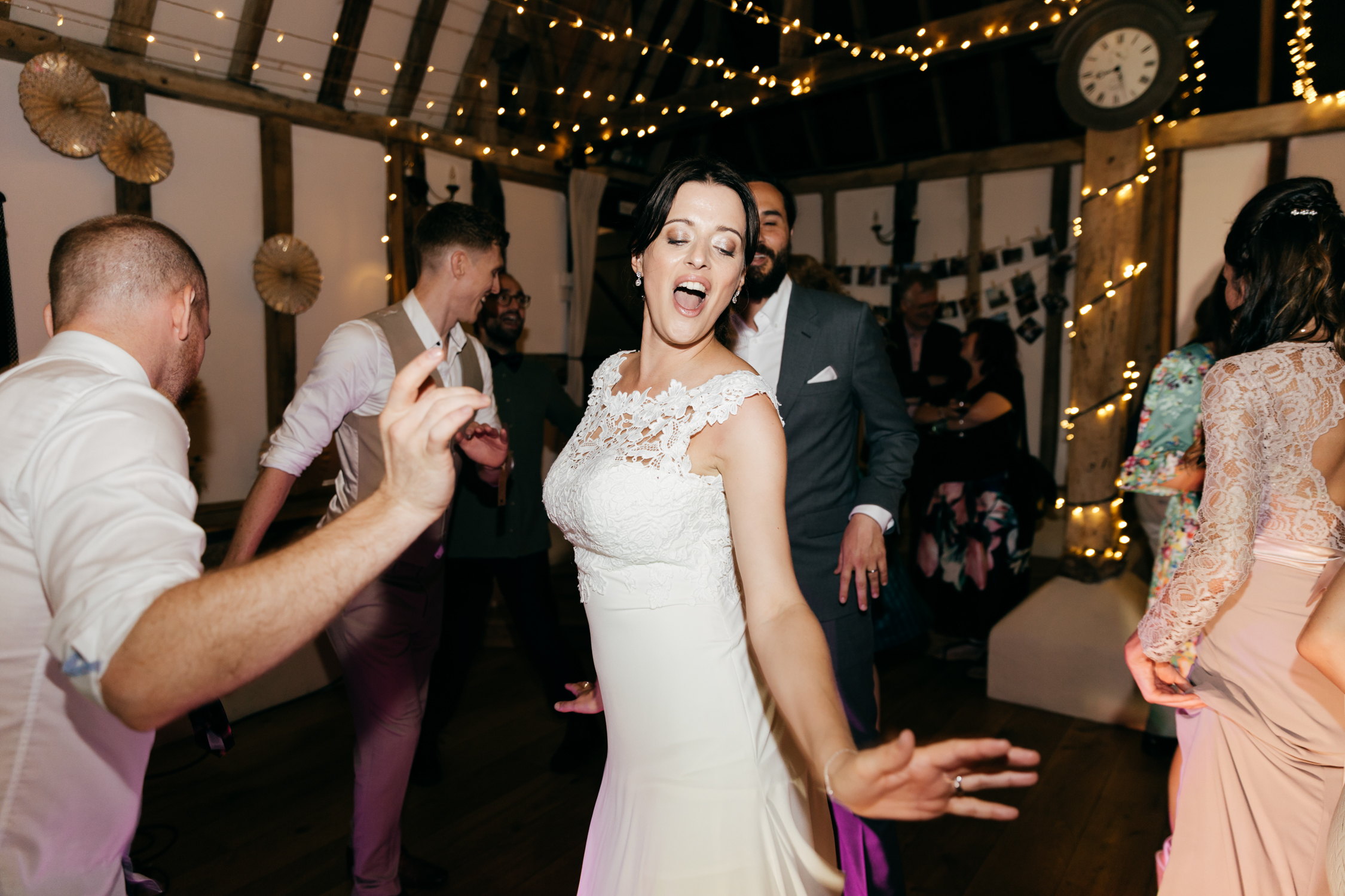 bride on dancefloor at the clock barn wedding