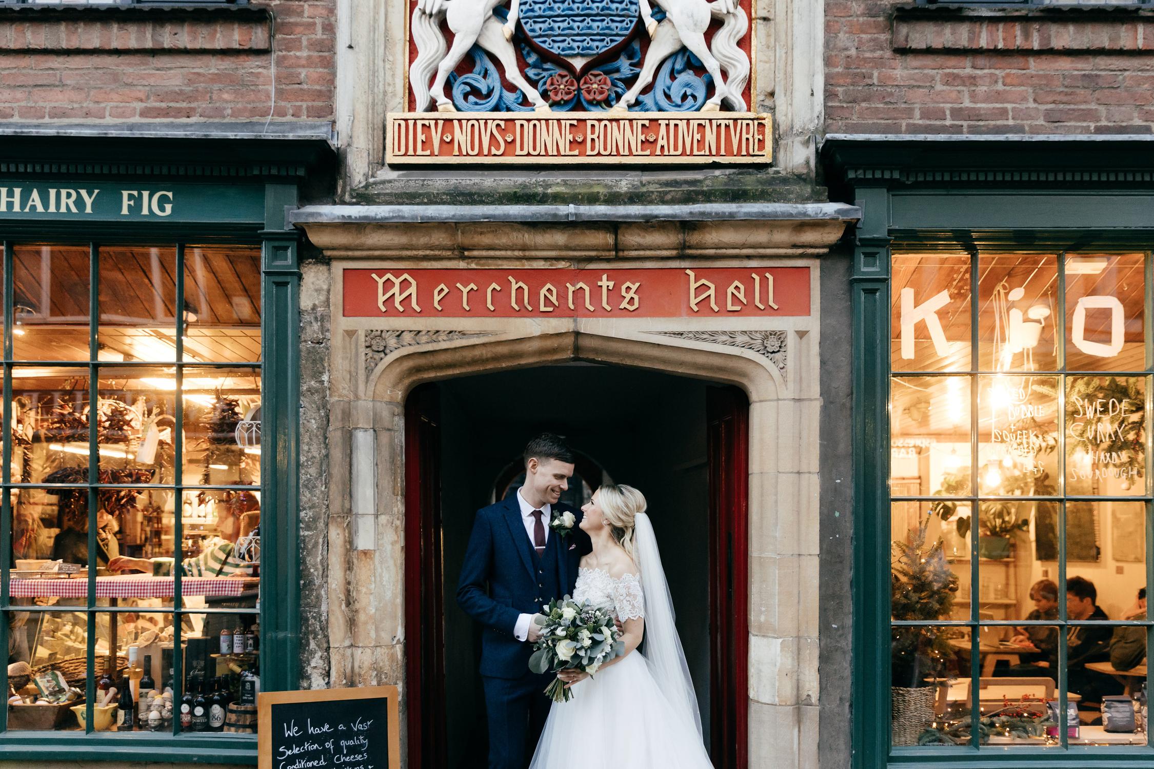 creative winter wedding portraits by creative gloucestershire wedding photographer