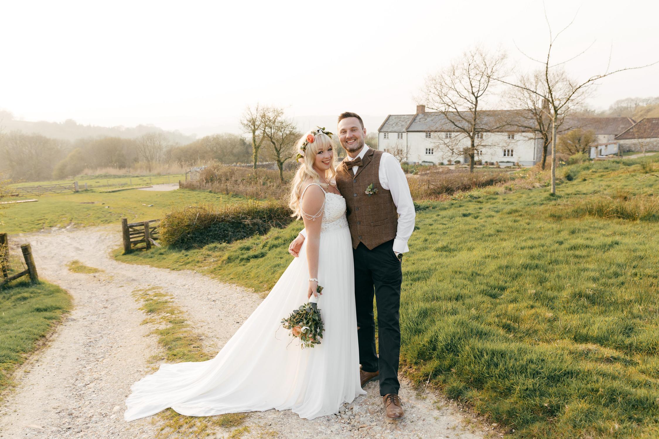 sunset wedding photos at river cottage