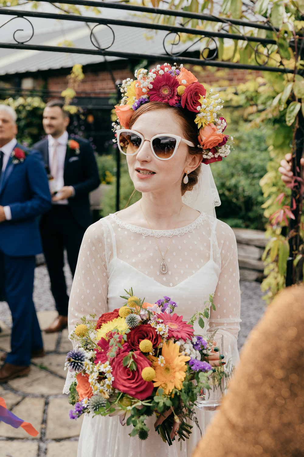 candid portrait of bride with quirky vintage style
