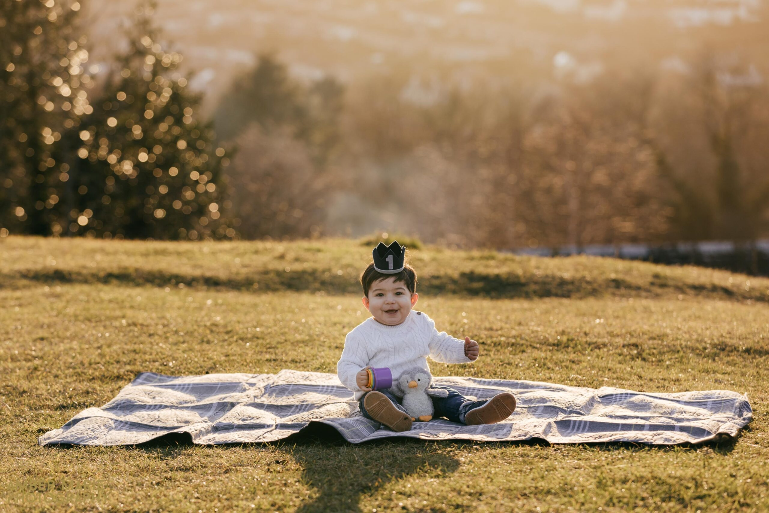 A First birthday photoshoot at sunset in Nailsworth
