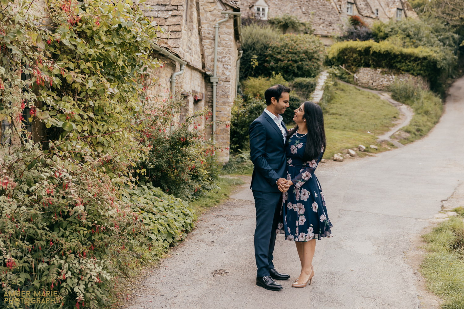 A tasteful and stylish portrait of a happy couple in The Cotswolds.