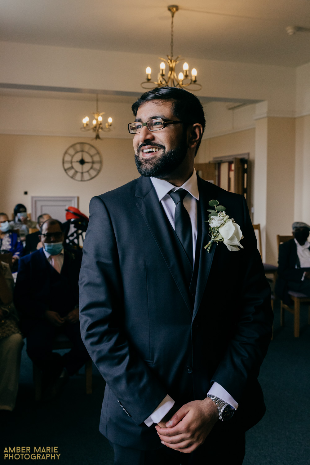 Natural wedding photography of groom waiting at Coalville Registry Office Leicester