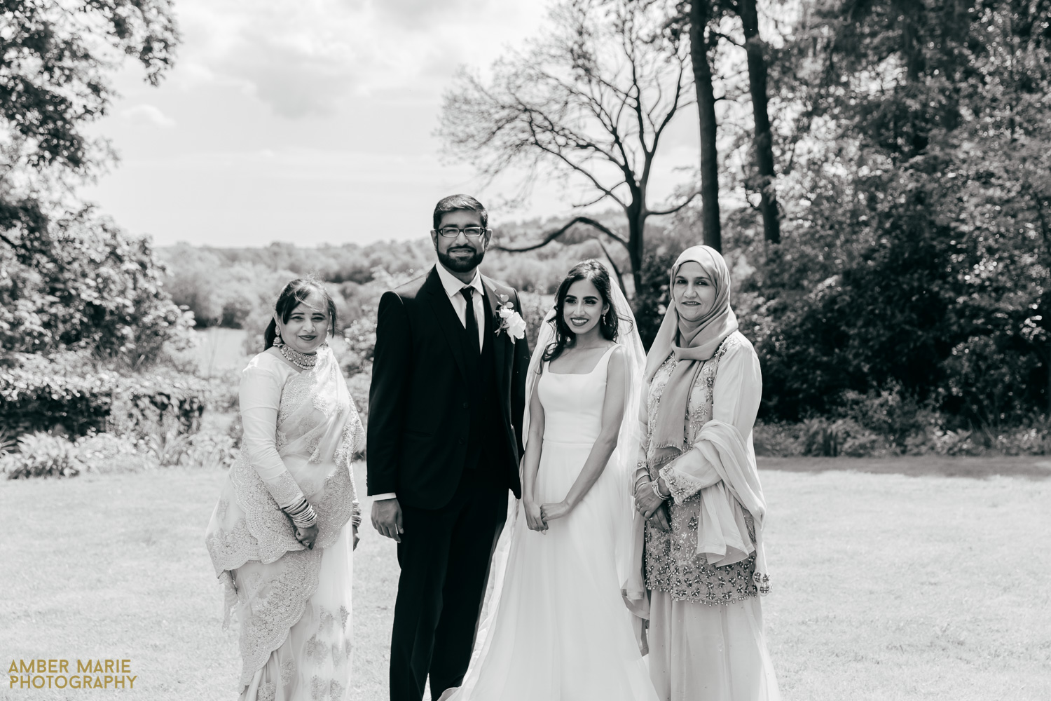 black and white family group photo at Abbots Oak Wedding