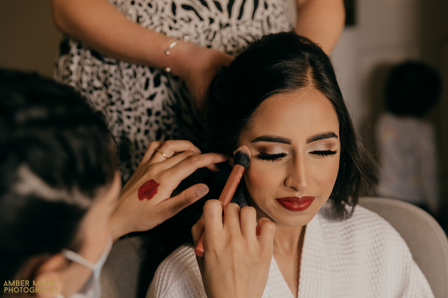 natural photo of bride getting ready