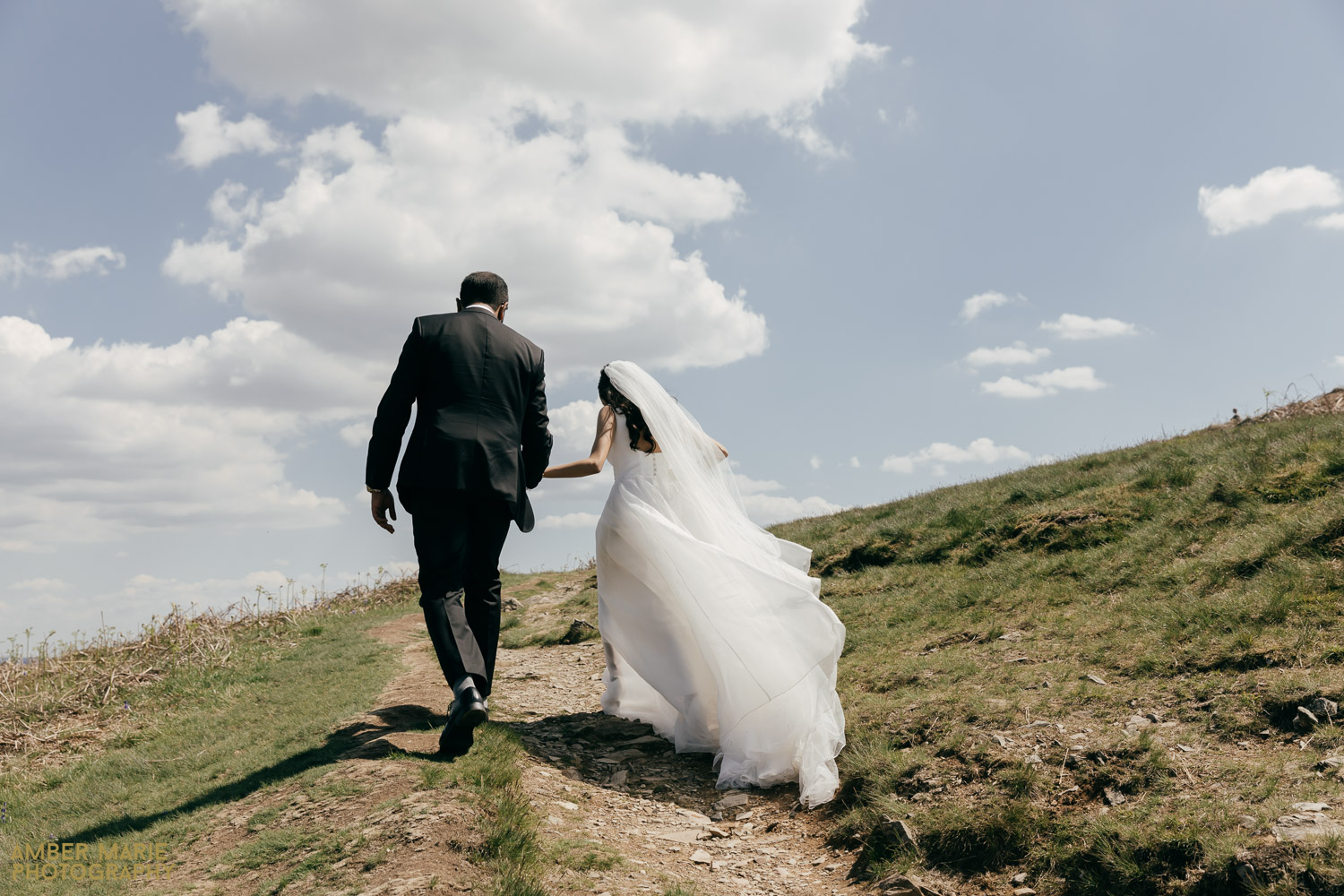Bride and Groom Climbing hill at Bradgate Park