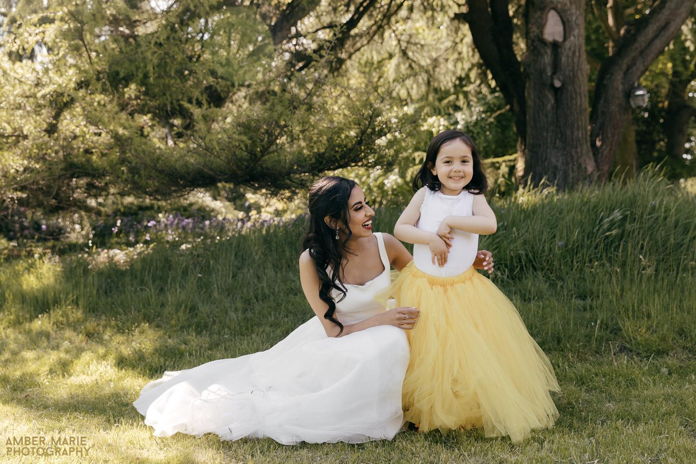 bride and flower girl wearing yellow tutu skirt