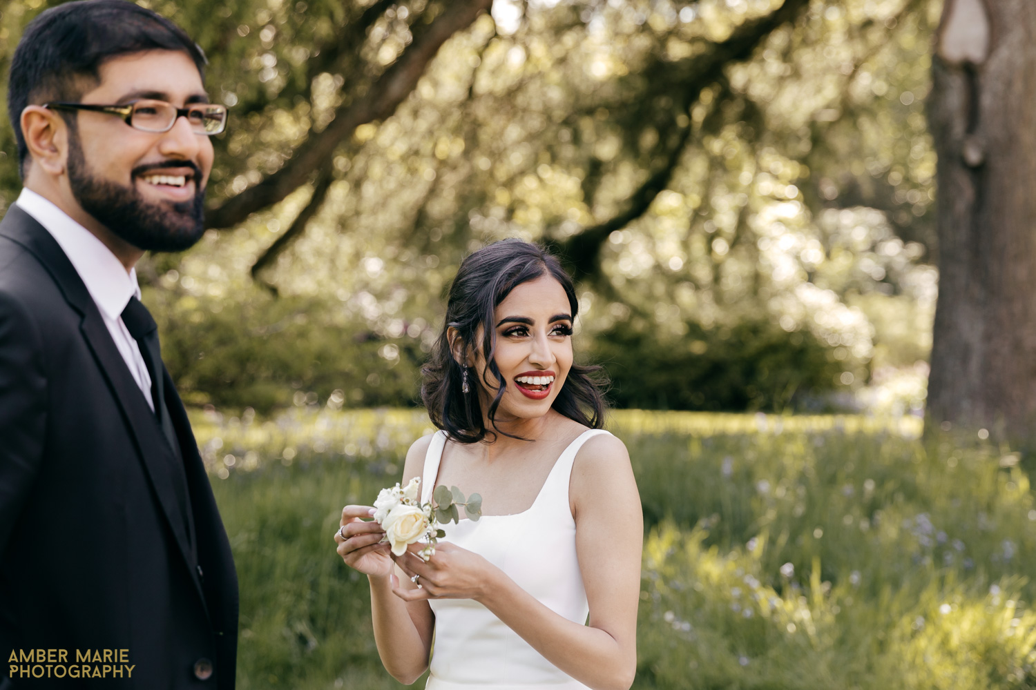 Natural photo of bride laughing