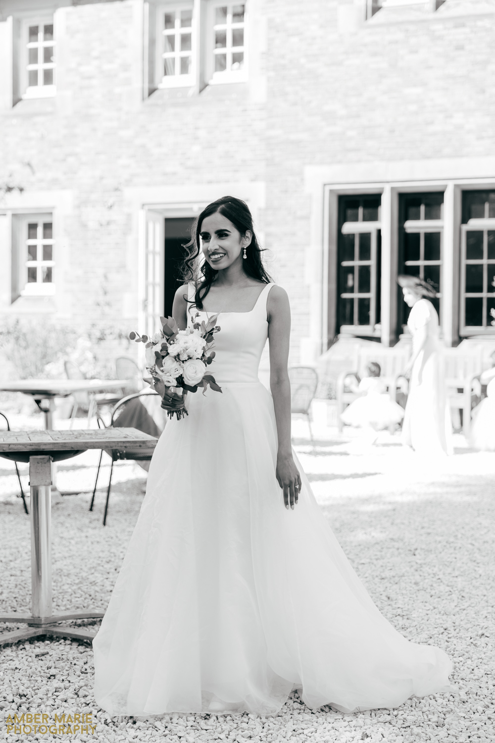 black and white photo of bride at abbots oak wedding