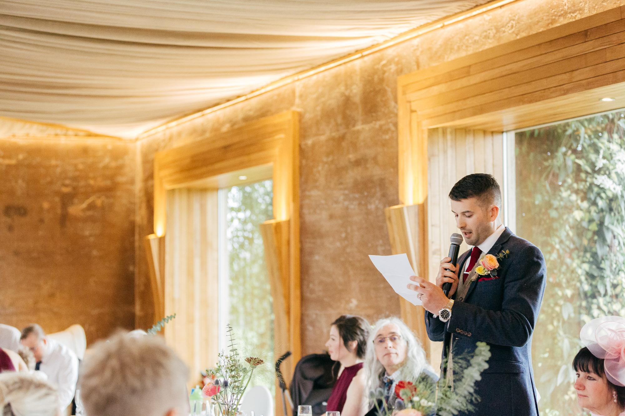 Wedding speeches Elmore Court Gillyflower captured by creative cotswold wedding photographer