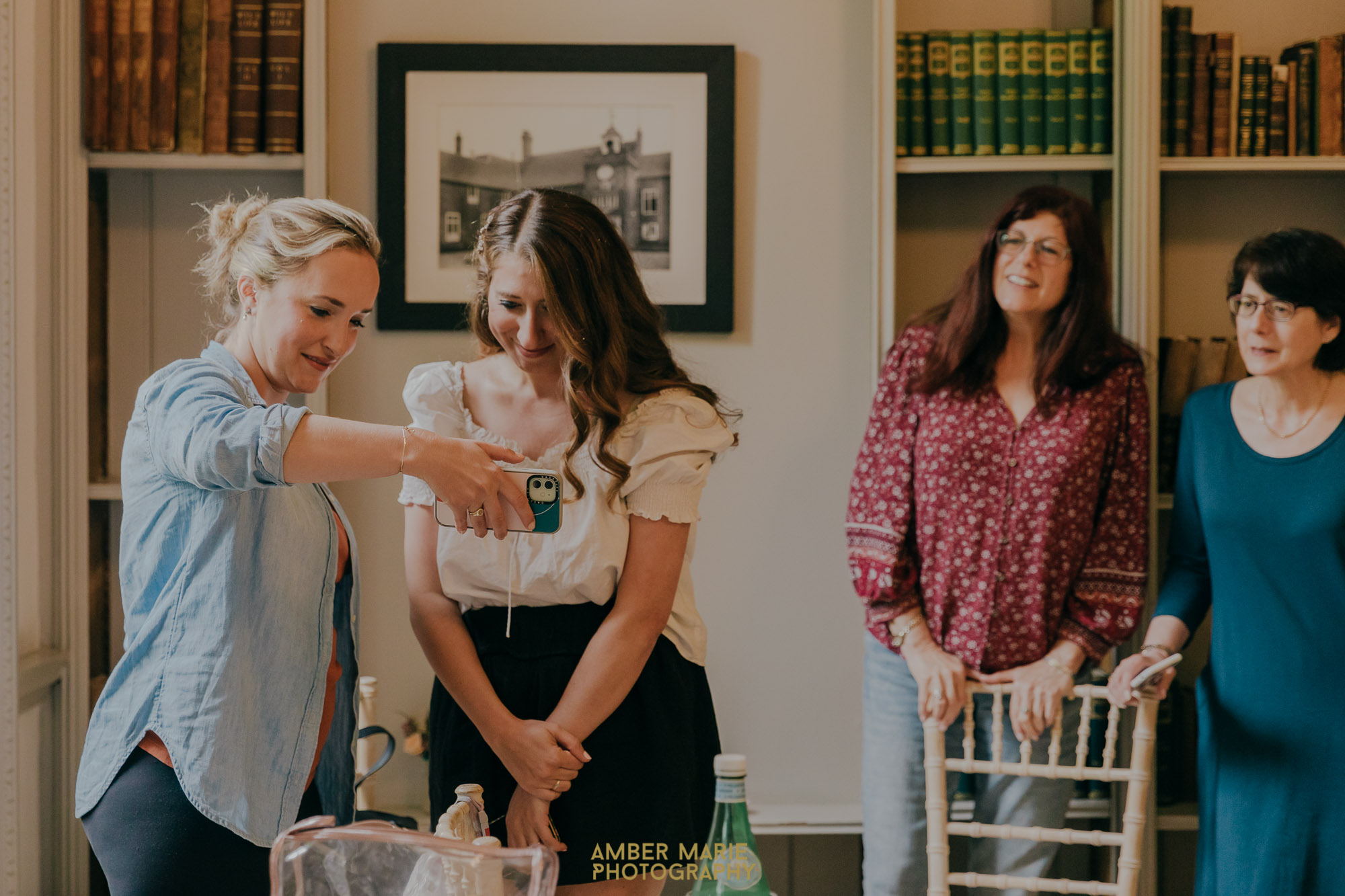 candid photo of bride and family using zoom on wedding day