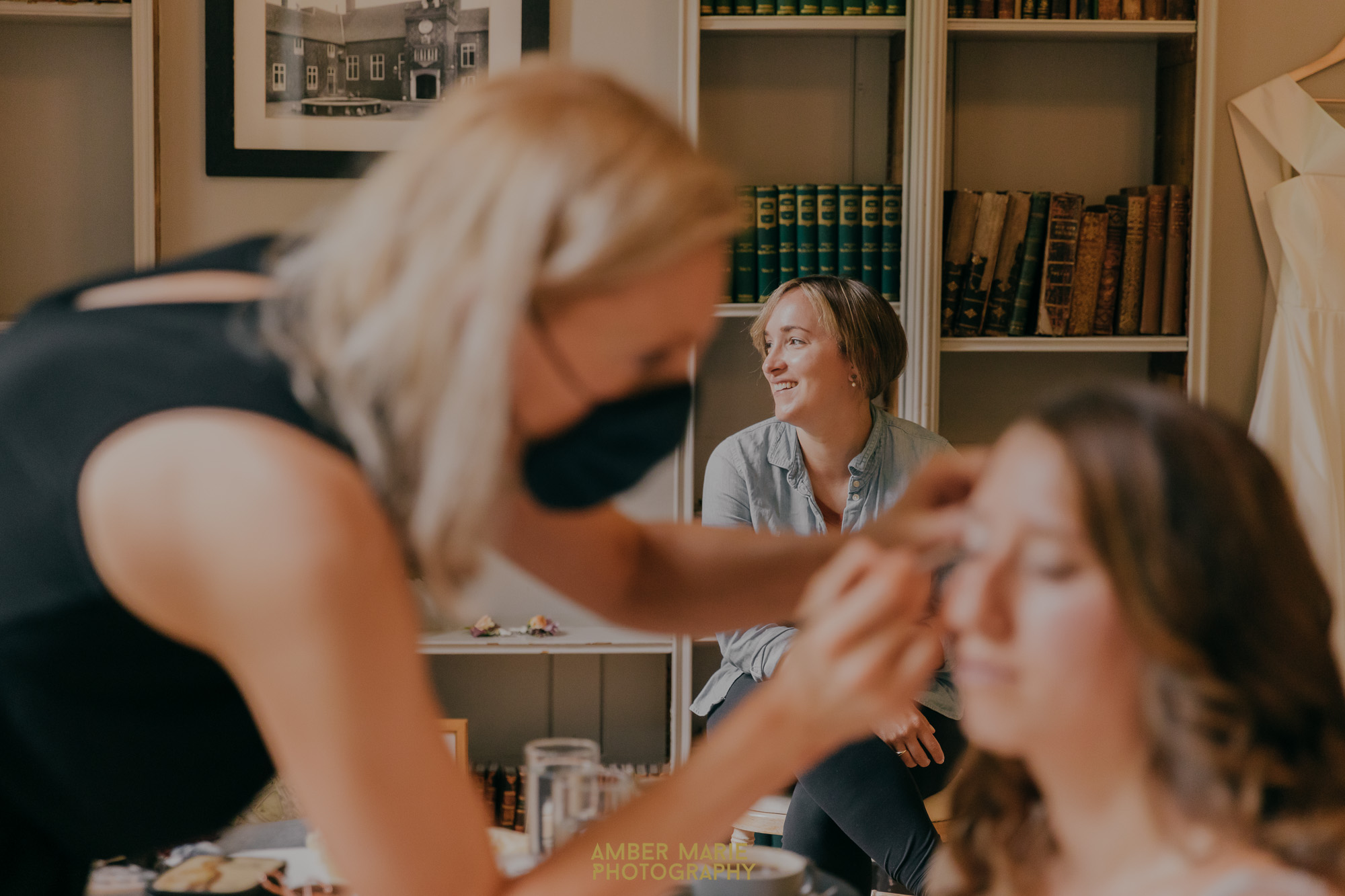 Candid wedding photography of bride getting ready