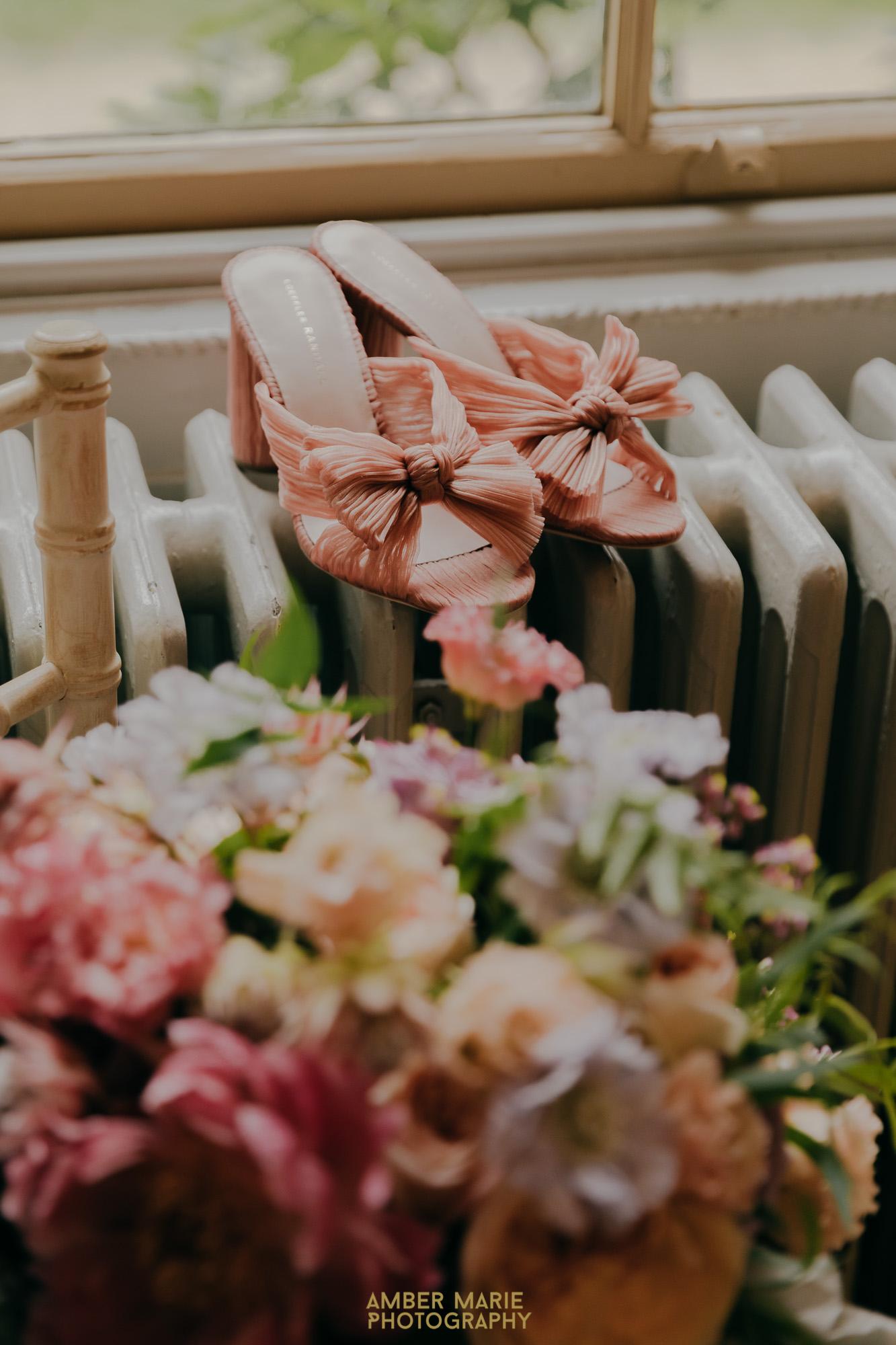 loeffler randall blush bridal shoes and a pastel summer bouquet