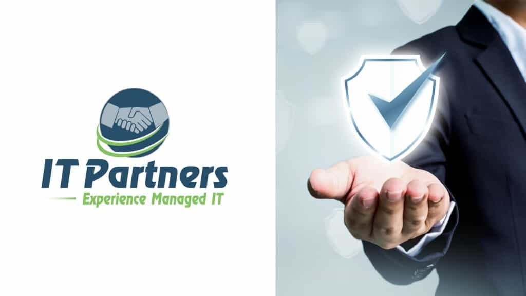 it partners logo beside a man with a shield illustrating how we protect our clients