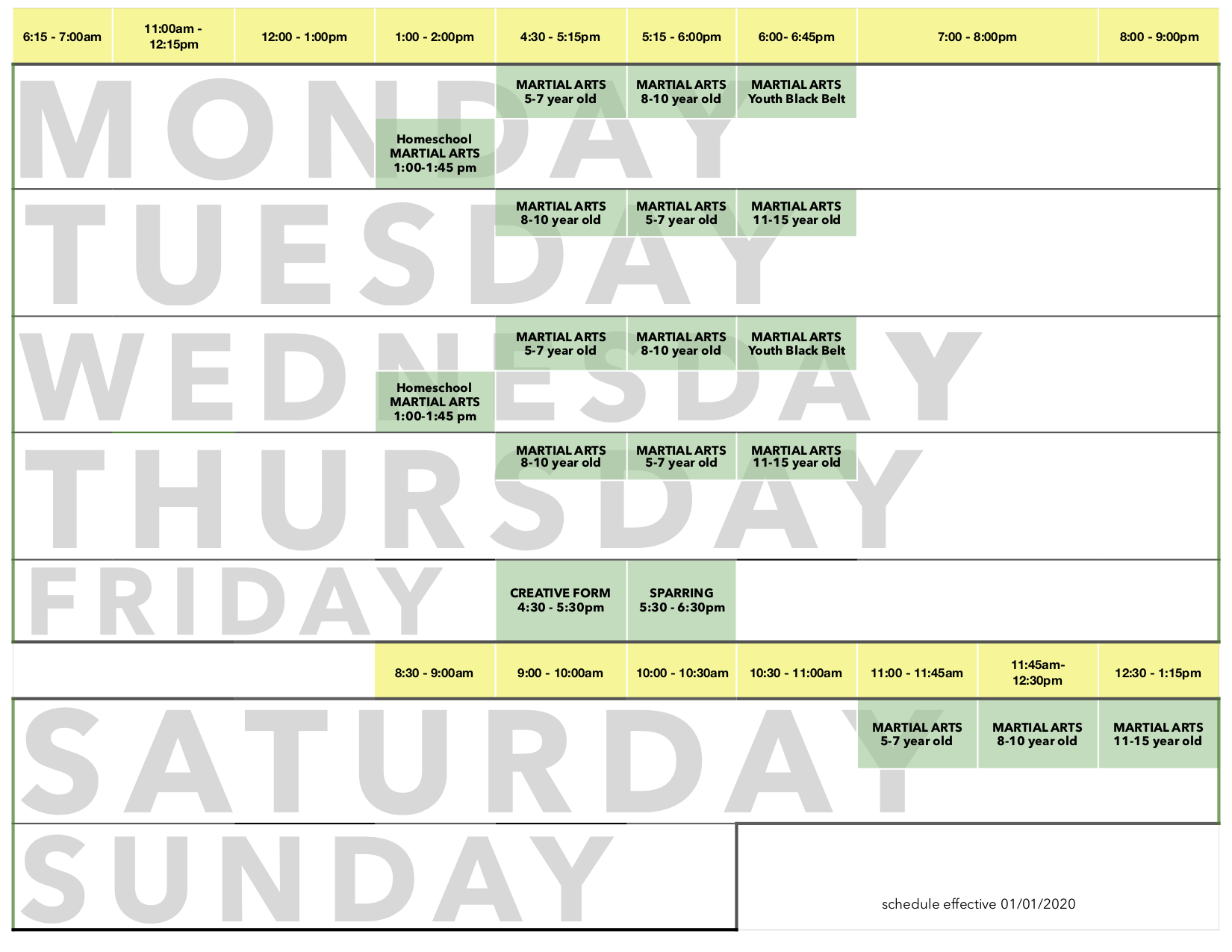 EA Schedule YMA January 2020 PNG2 - Kids Martial Arts