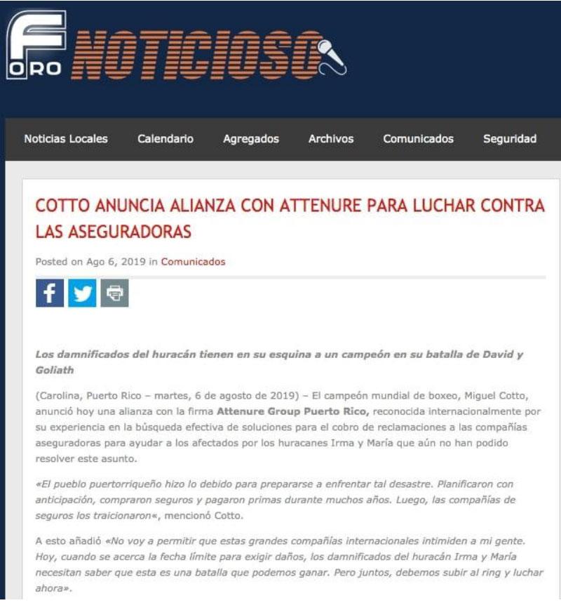 Cotto-anuncia-alianza-con-Attenure-para-luchar-contra-las-aseguradoras