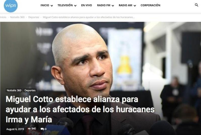 Miguel Cotto establece alianza para ayudar a los afectados de los huracanes Irma y María