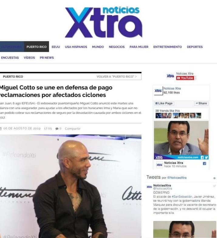 Miguel Cotto se une en defensa de pago por reclamaciones por afectados ciclones.