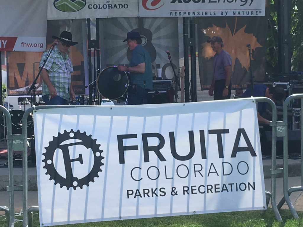 Steve Griggs Band setting up the stage in Fruita California.