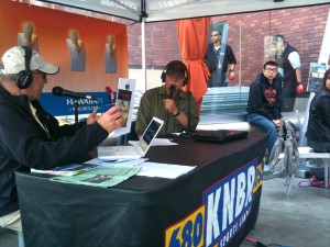 Mary Lurie, KNBR radio sports host, interviewing San Francisco wrier Joseph Sutton