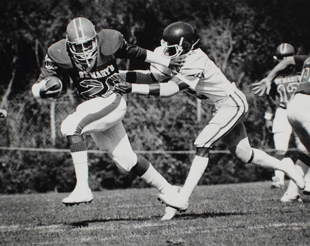 Football players black and white photo