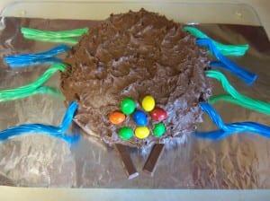 Chocolate Brownie Cake - Birthday Spider style