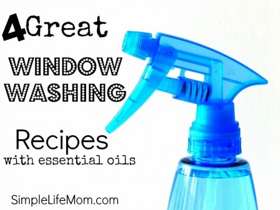 4 Great Window Washing Recipes with healthy ingredients like vinegar and essential oils from Simple Life Mom