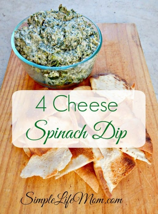 4 Cheese Spinach Dip with mozarella, parmesan, cream cheese, and cheddar cheeses from Simple Life Mom