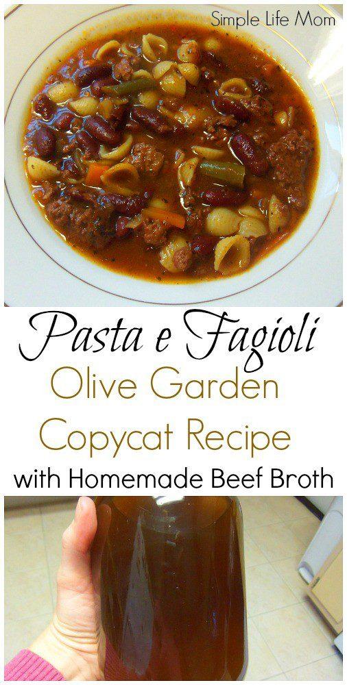 Pasta e Fagioli Olive Garden Copycat Recipe with Homemade beef bone broth from Simple Life Mom