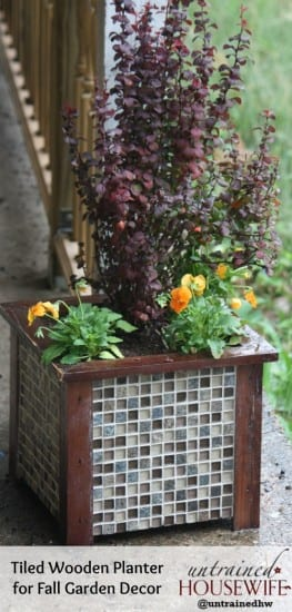 27 Last Minute DIY Gift Ideas - Tiled Wooden Planter from The Untrained Housewife