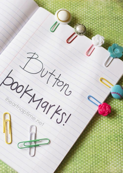 17 Natural Back to School DIYs - Button Bookmarks from I heart Naptime